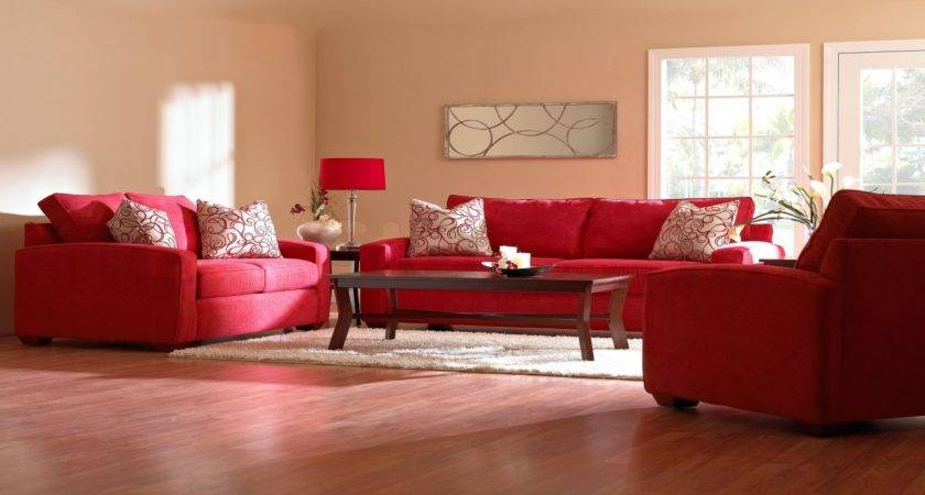 Red Rug Beige Couch Comfortable Living Room Decorating