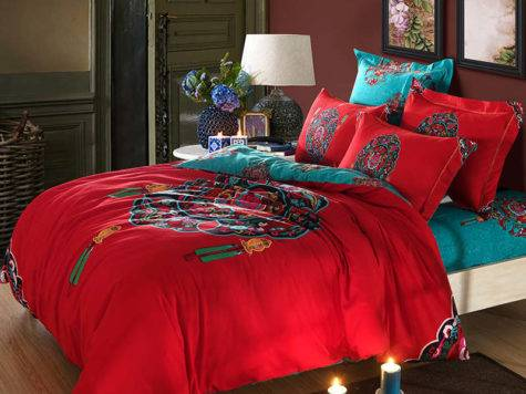Red Turquoise Oriental Chinese Traditional Pattern Bedding