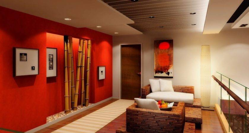 Red Wall Bamboo Design Living Room House