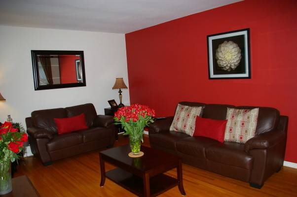 Red Wall Living Room Decorating Ideas Modern House