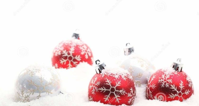 Red White Christmas Balls Snow Flakes