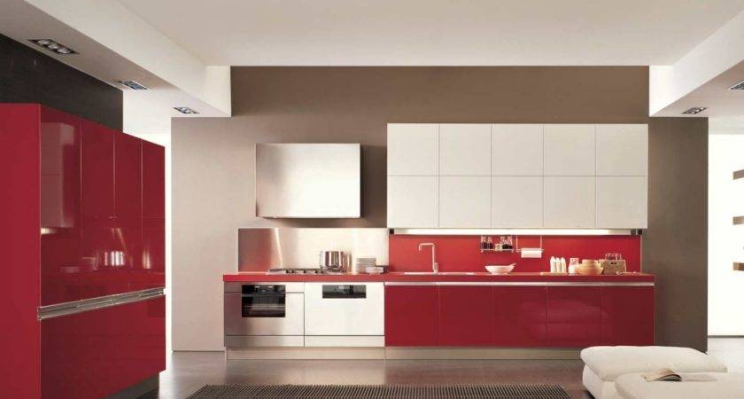 Red White Kitchen Interior Modern