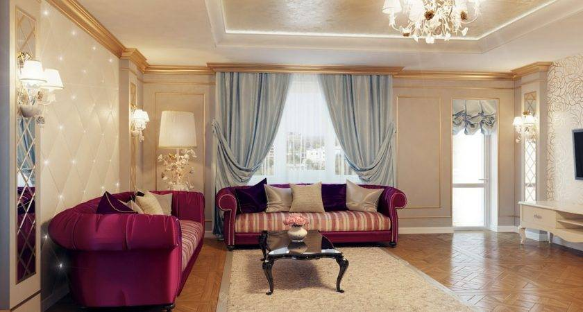 Regal Purple Blue Living Room Decor Olpos Design