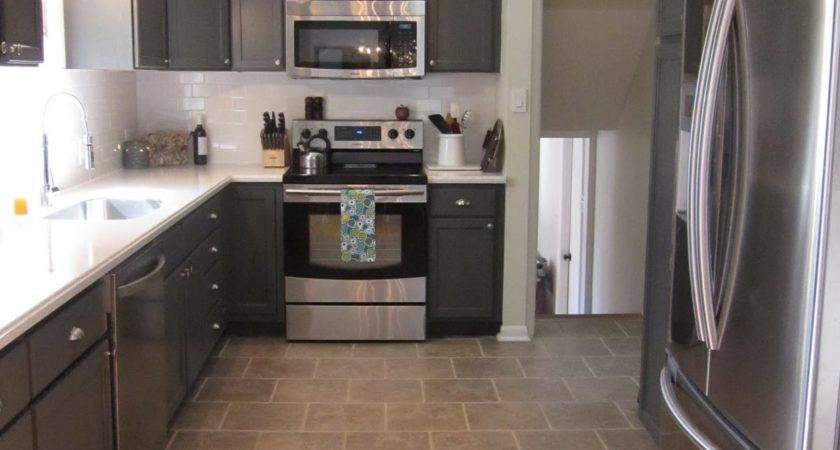 Remodelaholic Kitchen Redo Dark Gray Cabinets