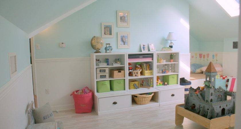 Remodelaholic Pottery Barn Inspired Attic Playroom Kids
