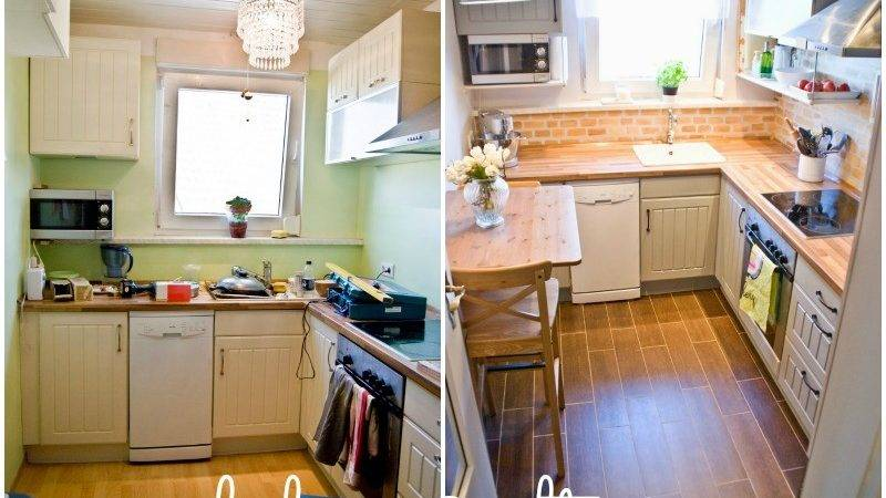 Remodelaholic Tiny Kitchen Renovation Faux Painted