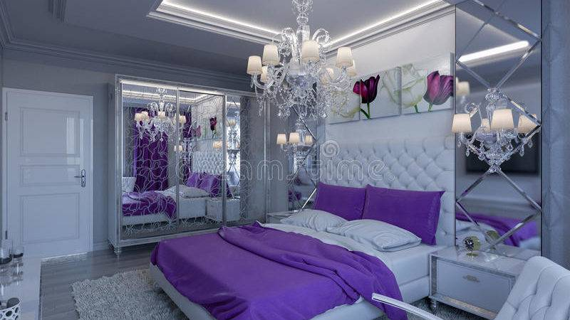 Rendering Bedroom Gray White Tones Purple