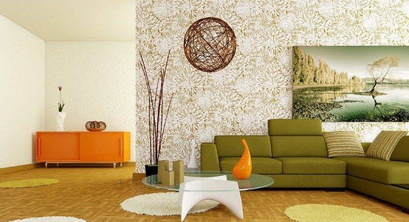 Retro White Orange Green Living Room Interior Design Ideas