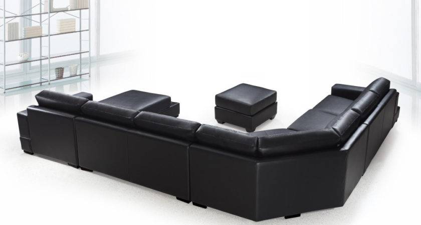 Ritz Modern Black Leather Shaped Sectional Sofa