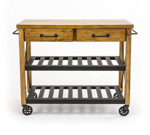 River Station Natural Industrial Kitchen Cart First