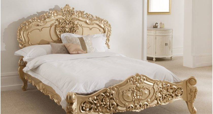 Rococo Antique French Bed Finished Gold Marvelous