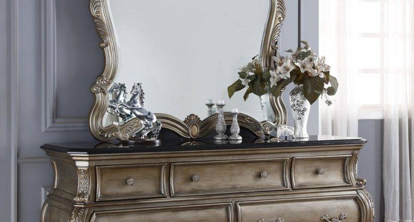 Roma French Bombe Crystal Tufted Piece King Bedroom Set