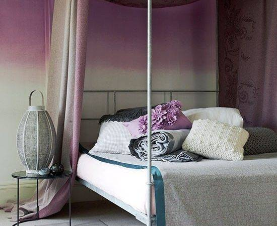 Romantic Bedroom Dusky Pink Four Poster Canopy