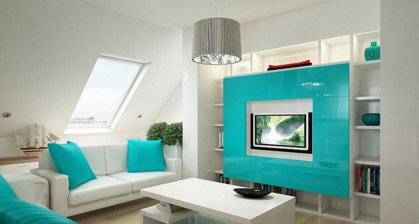 Room Design Groovy White Light Blue Living