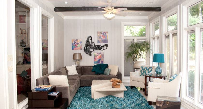 Round Teal Rug Room Contemporary Arm Chairs