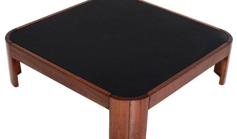 Rounded Square Wood Coffee Table Black Leather Top