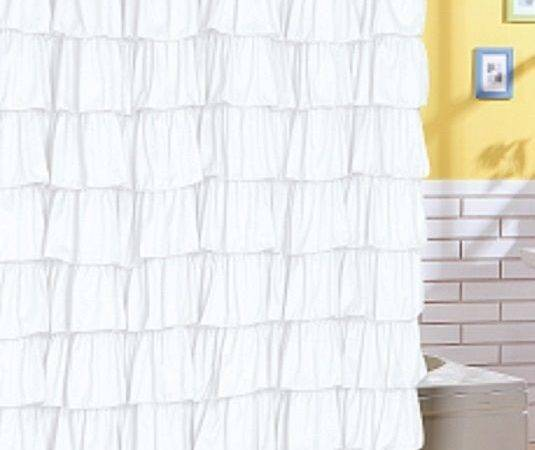 Ruffle Fabric Shower Curtain Color White Ebay