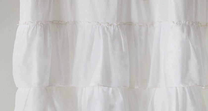 Ruffled White Shower Curtain Pier Imports