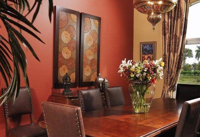 Rust Paint Color Dining Room Mediterranean Red Wall