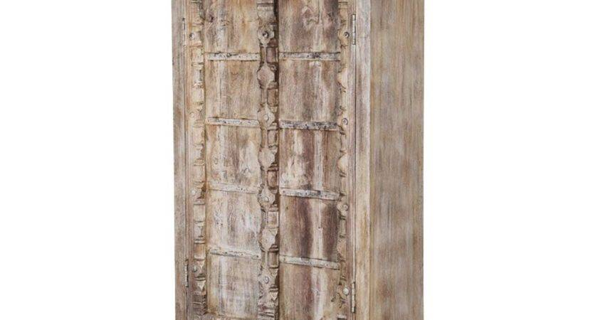 Rustic Antique White Reclaimed Wood Wardrobe Cabinet