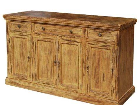 Rustic Hardwood Door Sideboard Storage Cabinet Buffet