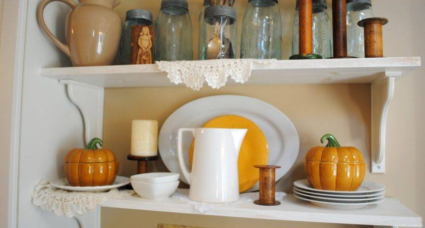 Rustic Maple Kitchen Shelves Fall