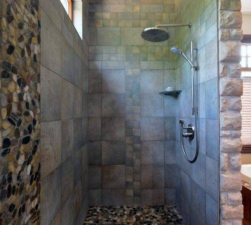 Rustic Oversized Walk Shower Bathroom Design Ideas