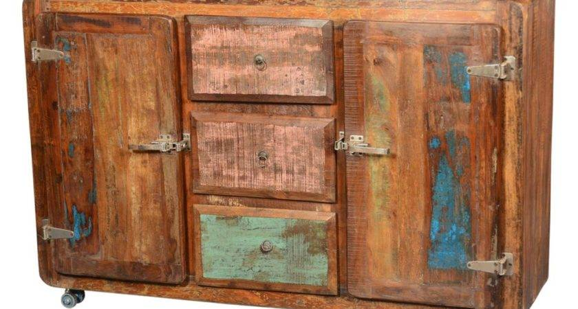 Rustic Reclaimed Wood Rolling Wheels Storage Sideboard Buffet