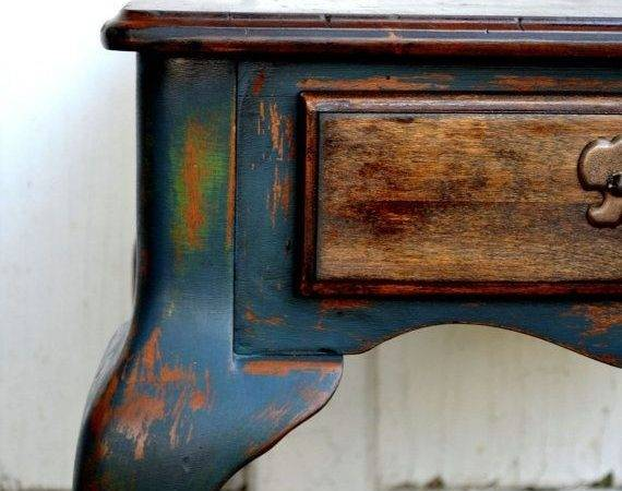 Rustic Shabby Chic Blue Antique Green Side Table