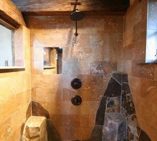 Rustic Walk Shower Bathroom Design Ideas Remodels