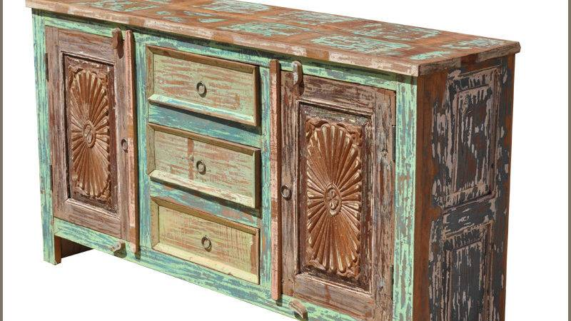 Rustic Wood Distressed Drawer Storage Cabinet Sideboard
