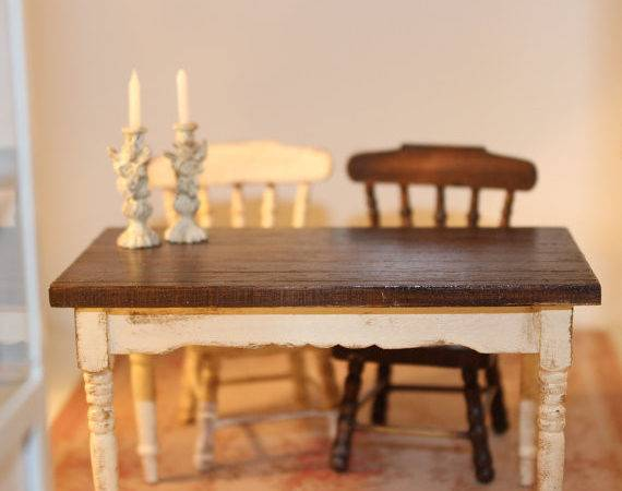 Rustique Kitchen Table Dollhouse Miniatures