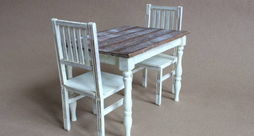 Scale Table Chairs Shabby Cottage Chic Farmhouse