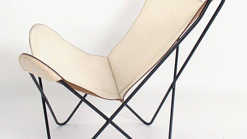 Sculptural Butterfly Chair Original White Leather