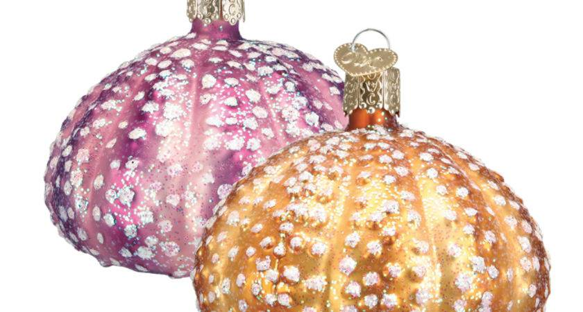 Sea Urchins Gold Pink Glass Christmas Holiday
