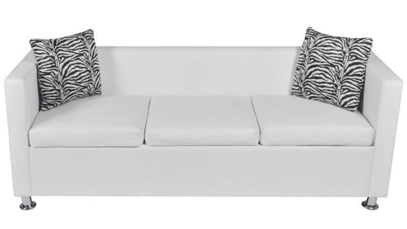 Seat Faux Leather Sofa Throw Pillows White Buy Sofas
