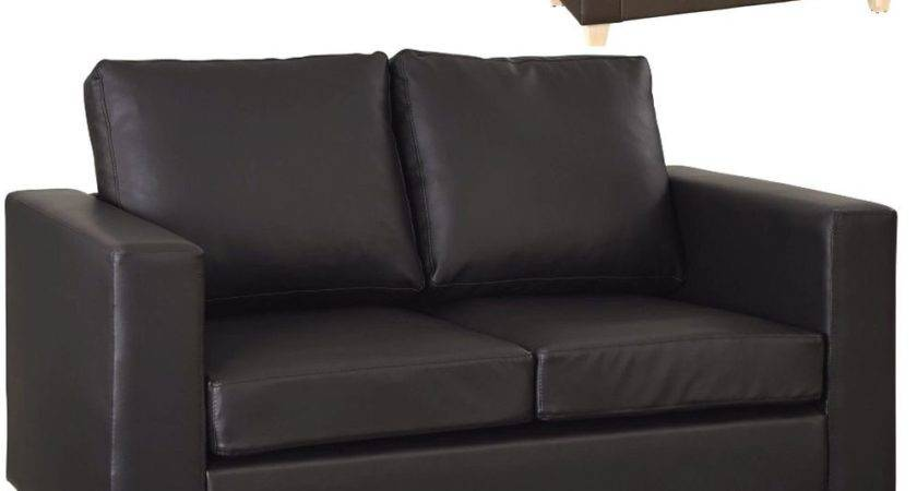 Seater Sofa Black Brown Faux Leather Modern Design