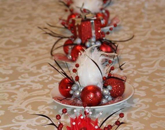 Set Five Unique Christmas Feathered Centerpieces Red