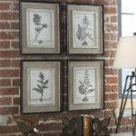Set Four Gray Flower Prints Framed Wall Art Ebay