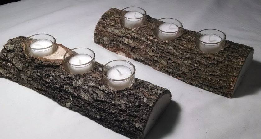 Set Rustic Log Candle Holder Wedding Decorations