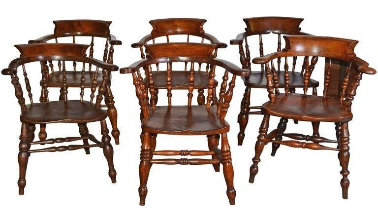 Set Six English Captains Chairs Stdibs