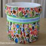 Sew Fabric Covered Paint Bucket Waste Can Own Style