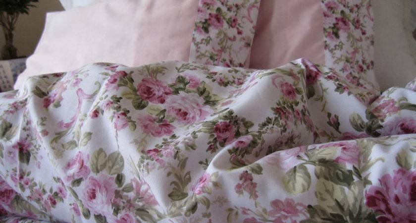 Shabby Chic Bedding Green Pink Roses Floral Print