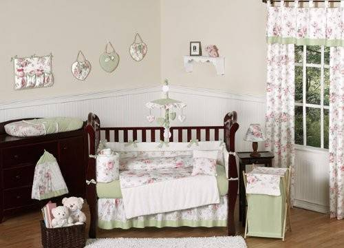Shabby Chic Bedding Riley Roses Pink Sage Green