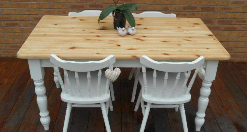 Shabby Chic Country Cottage Pine Table Chairs