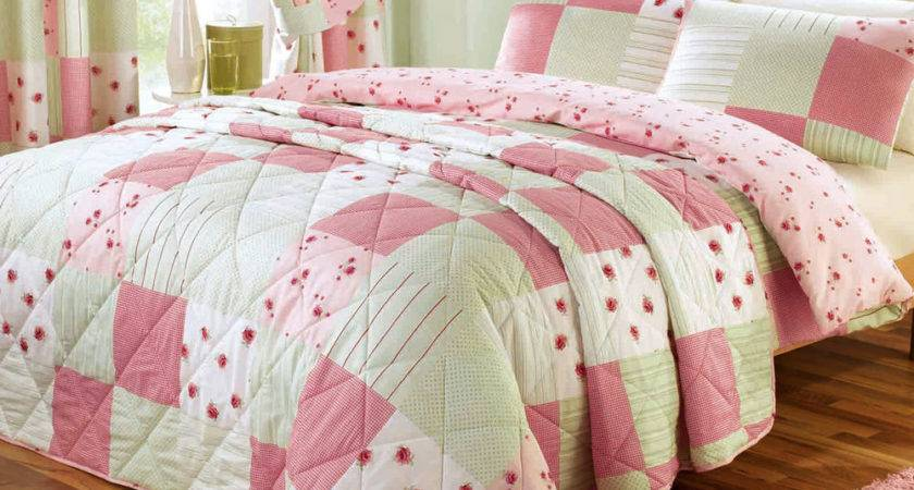 Shabby Chic Patchwork Duvet Cover Floral Pink Green