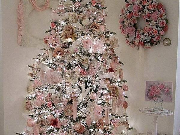 Shabby Chic Pink Christmas Trees