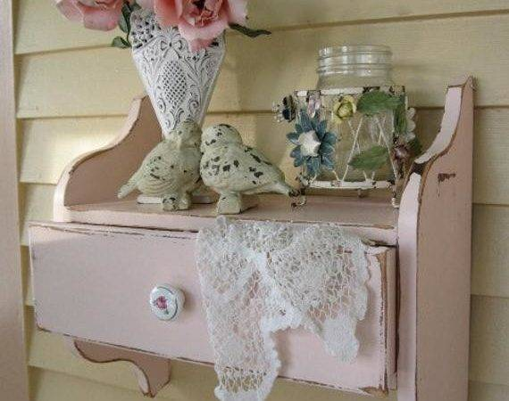 Shabby Chic Pink Wall Shelf Drawer Vintage Hanging