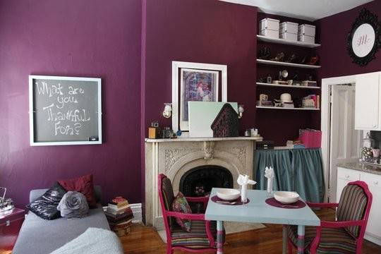 Shade Plum Walls Tiny New York Apartment