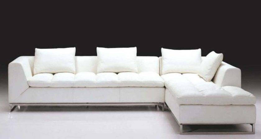Shaped White Tone Sectional Sofa Chaise